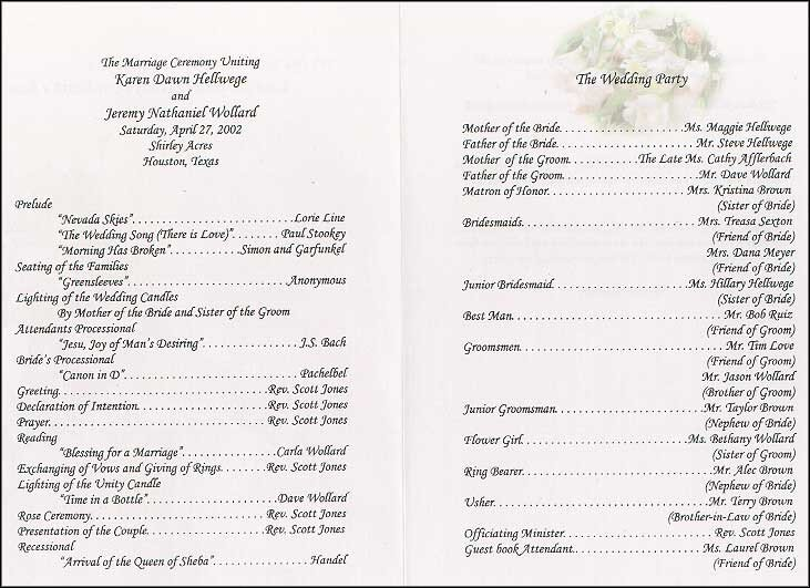 Sample Of Wedding Programme Wedding Collection nowadays Aug 24 2011