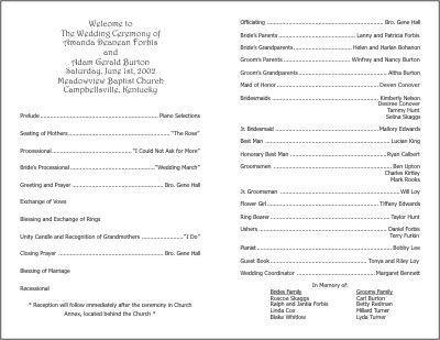 Sample Of Wedding Programme Wedding Programs Examples On Wedding Programs Sample Front