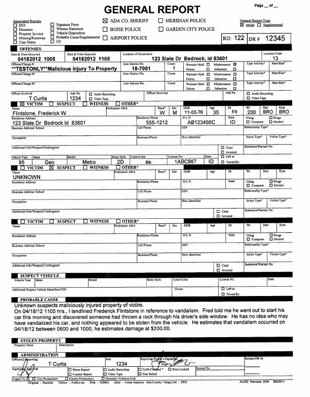 Sample Police Report Template Free Printable Police Report Template form Generic