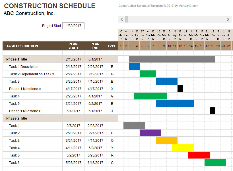 Sample Residential Construction Schedule Construction Schedule Template
