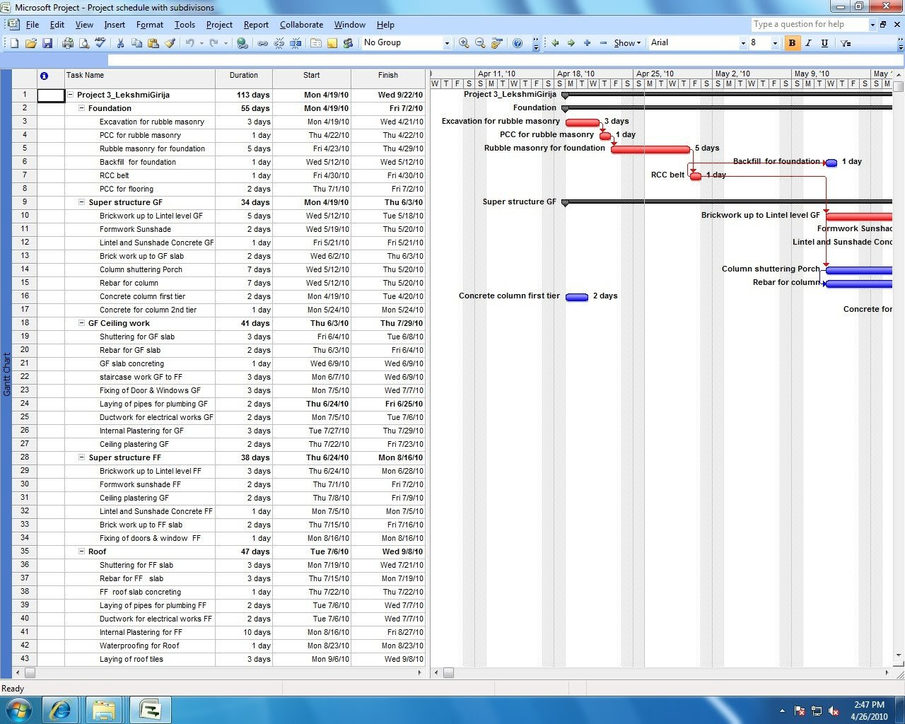 Sample Residential Construction Schedule Ms Project Sample Construction Schedule
