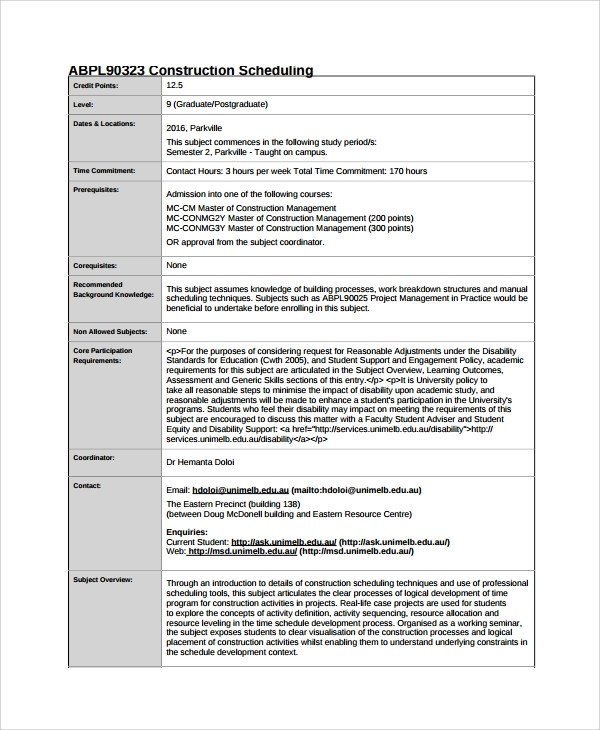 Sample Residential Construction Schedule Sample Construction Schedule Template 13 Free Documents