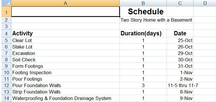 Sample Residential Construction Schedule Sample Residential Construction Schedule