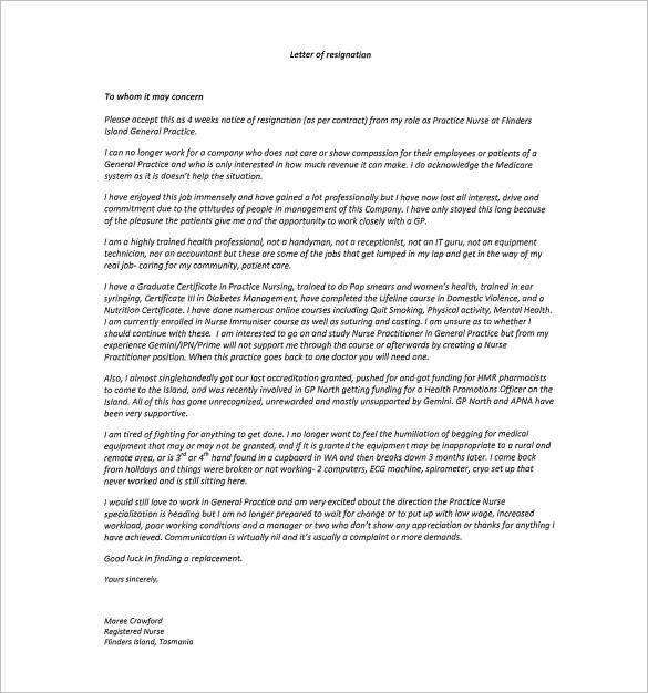 Sample Resignation Letter Nurse 11 Hospital Resignation Letter Samples and Templates