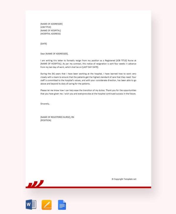 Sample Resignation Letter Nurse 11 Sample Nursing Resignation Letters Pdf Word
