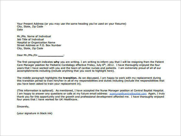 Sample Resignation Letter Nurse 13 Nurse Resignation Letter Samples and Templates Pdf Word