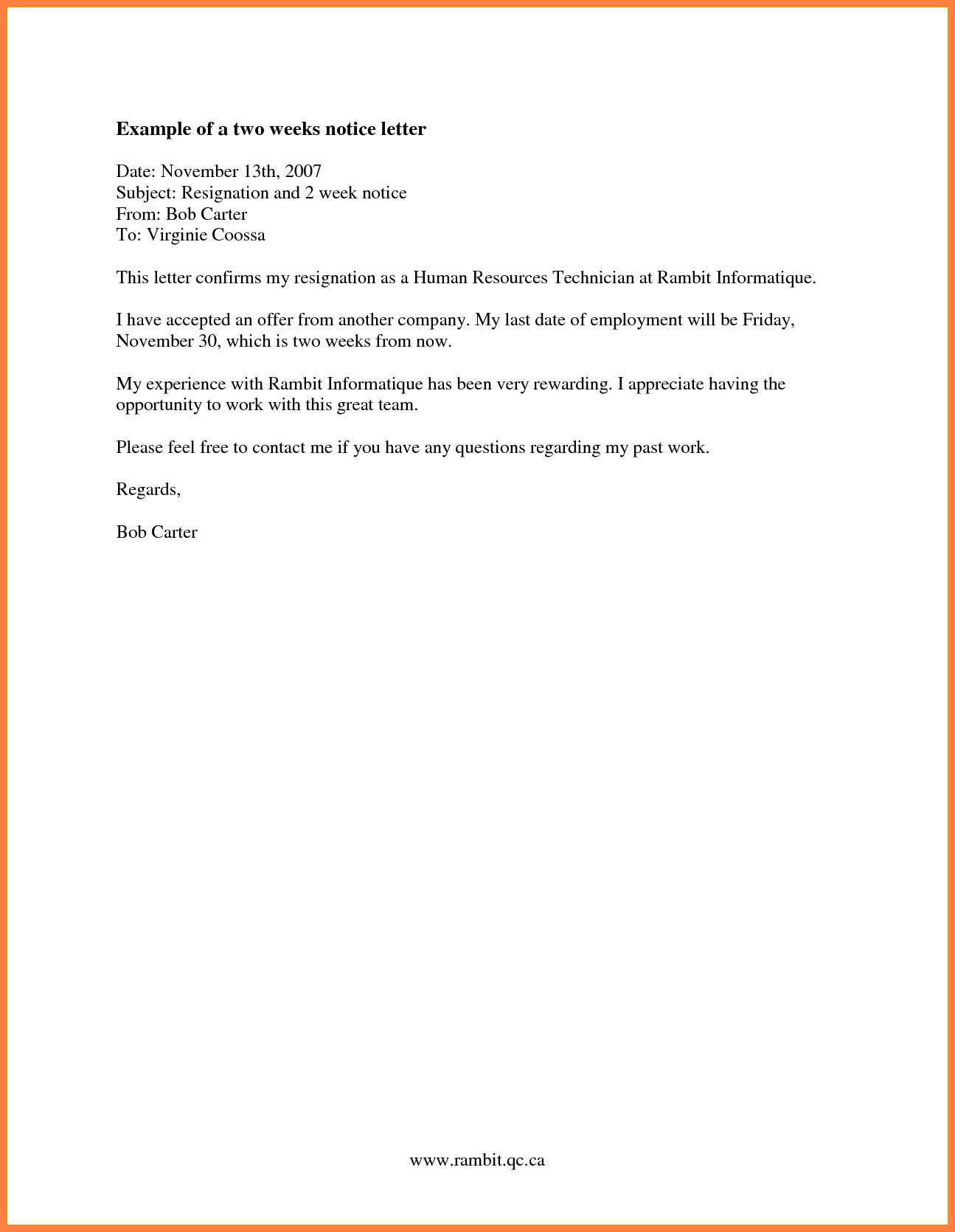 Sample Resignation Letter Nurse 8 Resignation Letter 2 Week Notice Nurse