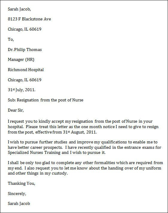 Sample Resignation Letter Nurse 9 Nursing Resignation Letters Doc Pdf