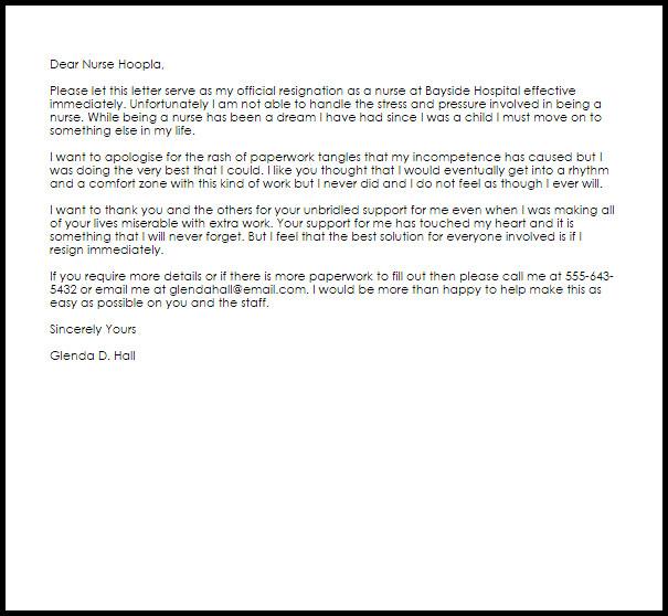 Sample Resignation Letter Nurse Nurse Resignation Letter Resignation Letters