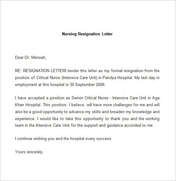 Sample Resignation Letter Nurse Resignation Letter Template 25 Free Word Pdf Documents
