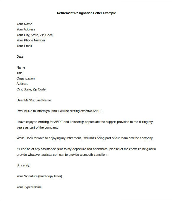 Sample Retirement Resignation Letter Free 8 Printable Professional Sample Retirement Letters