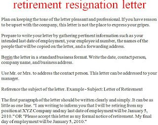 Sample Retirement Resignation Letter Resignation Letter Template October 2012