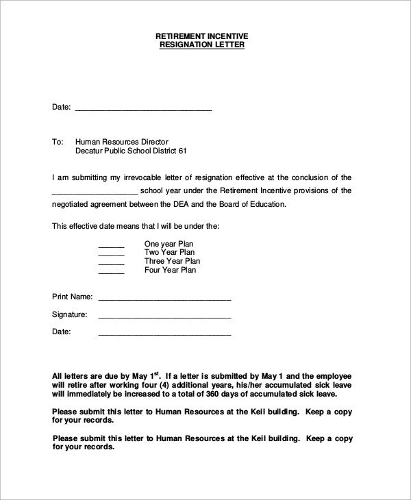 Sample Retirement Resignation Letter Sample Of Resignation Letter 8 Examples In Word Pdf