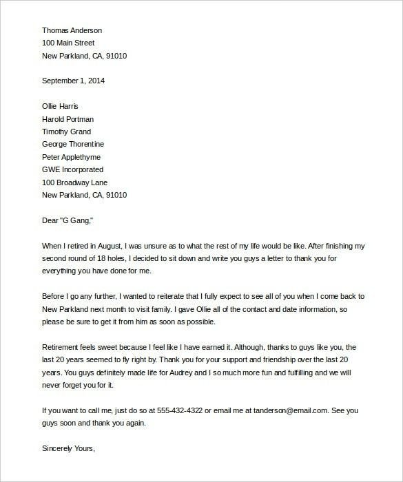 Sample Retirement Resignation Letter Sample Retirement Letter Template