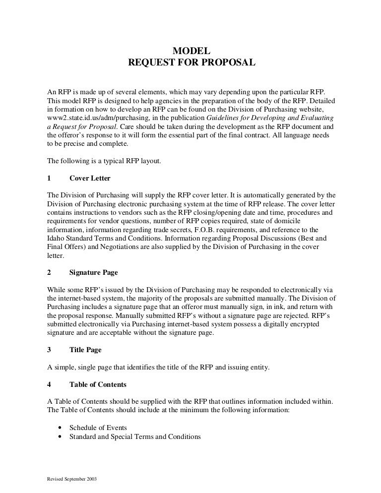 Sample Rfp Response Letter Sample Request for Proposal format