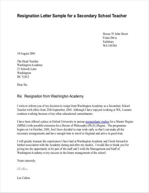 Sample Teacher Resignation Letter 11 Teacher Resignation Letter Samples and Templates Pdf