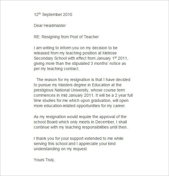 Sample Teacher Resignation Letter 11 Teacher Resignation Letter Templates – Free Sample