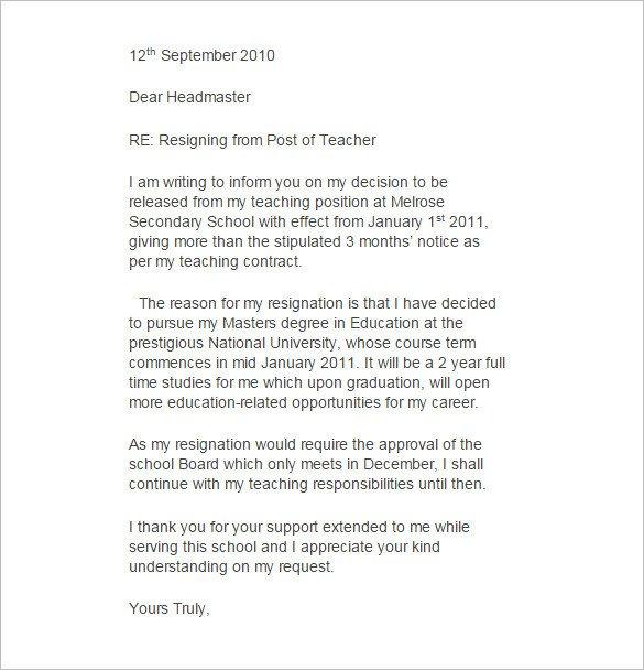 Sample Teacher Resignation Letter 11 Teacher Resignation Letter Templates – Free Sample