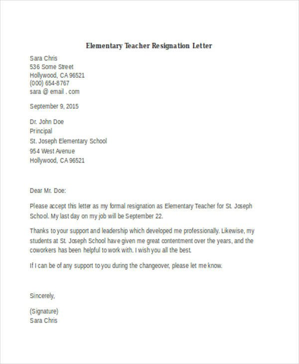 Sample Teacher Resignation Letter 40 Resignation Letter Example