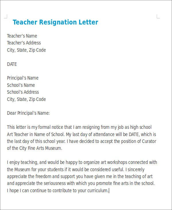 Sample Teacher Resignation Letter 7 Sample Teaching Resignation Letters Free Sample