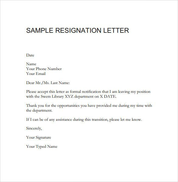 Sample Teacher Resignation Letter Free 10 Teacher Resignation Letter Templates In Word
