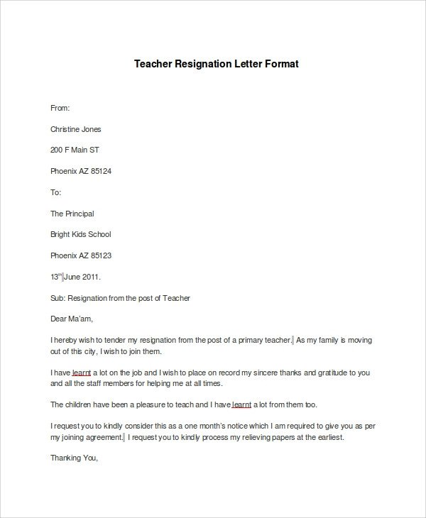Sample Teacher Resignation Letter Resignation Letter Samples Examples Templates 7