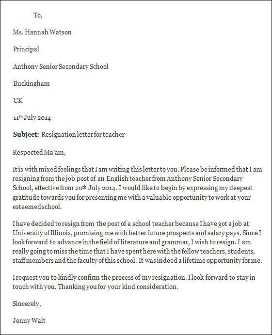 Sample Teacher Resignation Letter Resignation Letter Template Free Resignation Letter Template