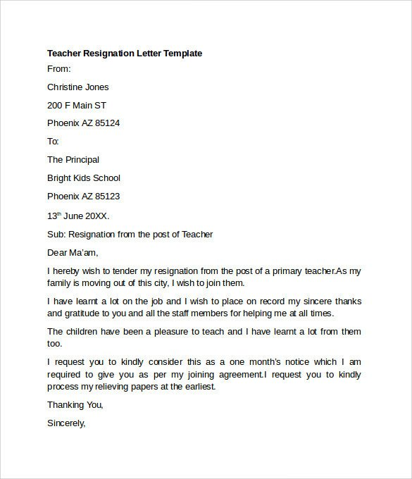 Sample Teacher Resignation Letter Sample Resignation Letter Example 10 Free Documents