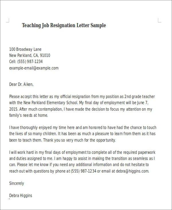 Sample Teacher Resignation Letter Sample Teaching Resignation Letter 6 Examples In Pdf