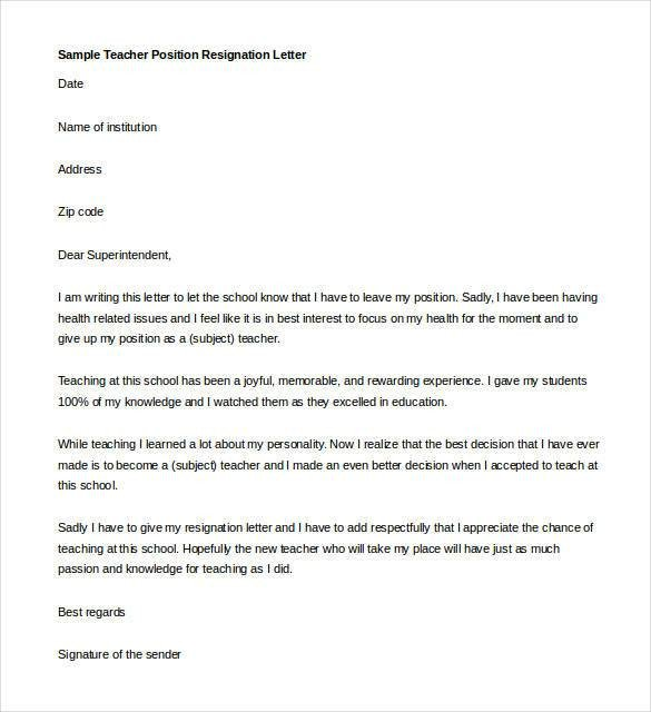 Sample Teacher Resignation Letter Teacher Resignation Letter