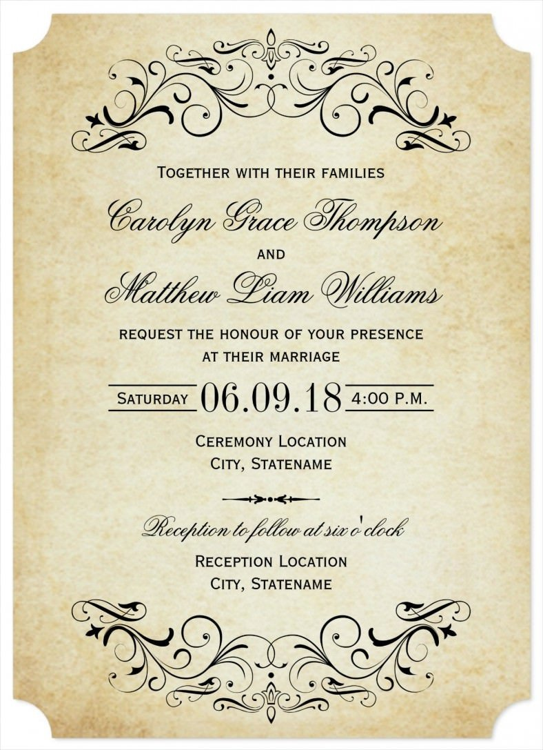 Sample Wedding Invitations Templates 31 Elegant Wedding Invitation Templates – Free Sample
