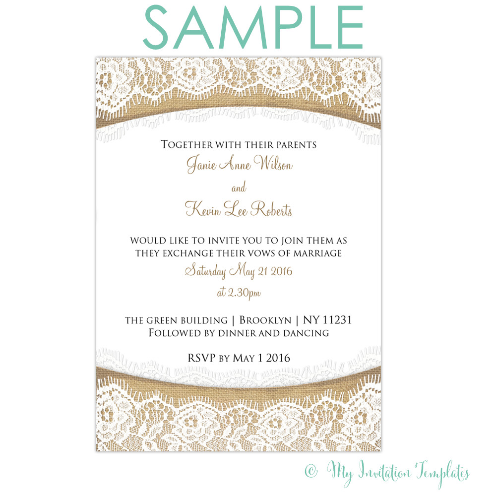 Sample Wedding Invitations Templates Rustic Burlap and Lace Wedding Invitation Free Sample