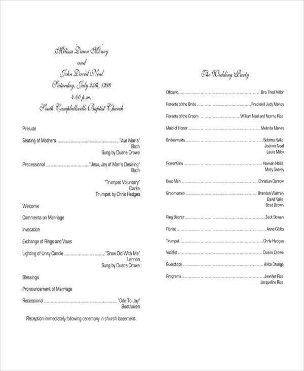 Sample Wedding Program Template 10 Wedding Program Templates Free Sample Example