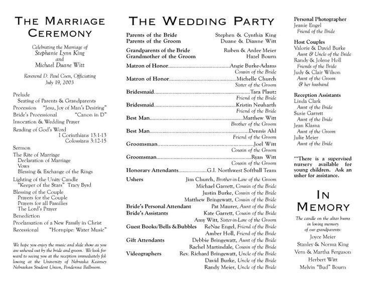 Sample Wedding Program Template 1000 Ideas About Wedding Programs Wording On Pinterest