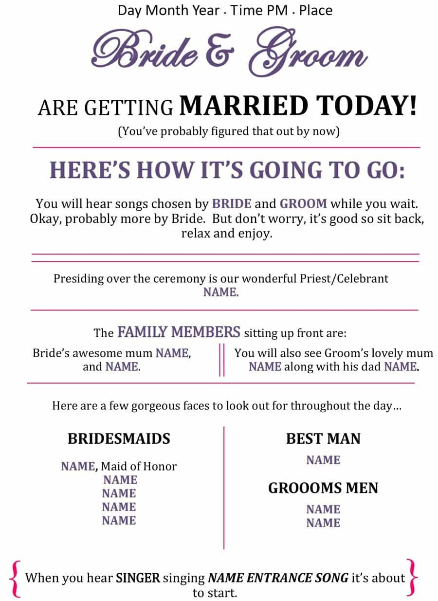 Sample Wedding Program Template 37 Printable Wedding Program Examples & Templates