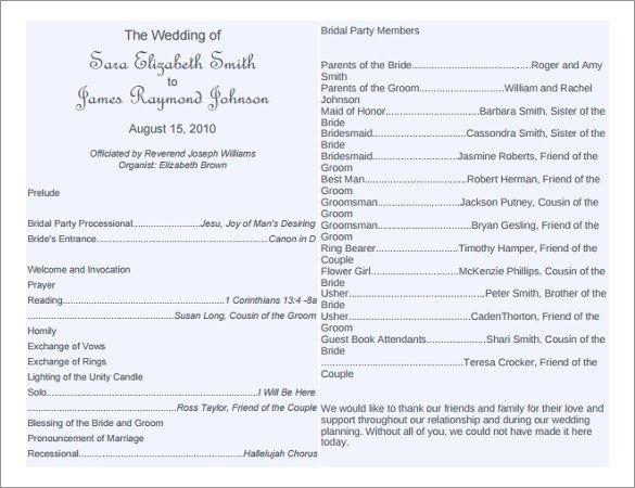 Sample Wedding Program Template 8 Word Wedding Program Templates Free Download