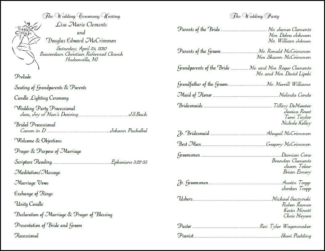 Sample Wedding Program Template Best S Of Layout Church Programs Printable