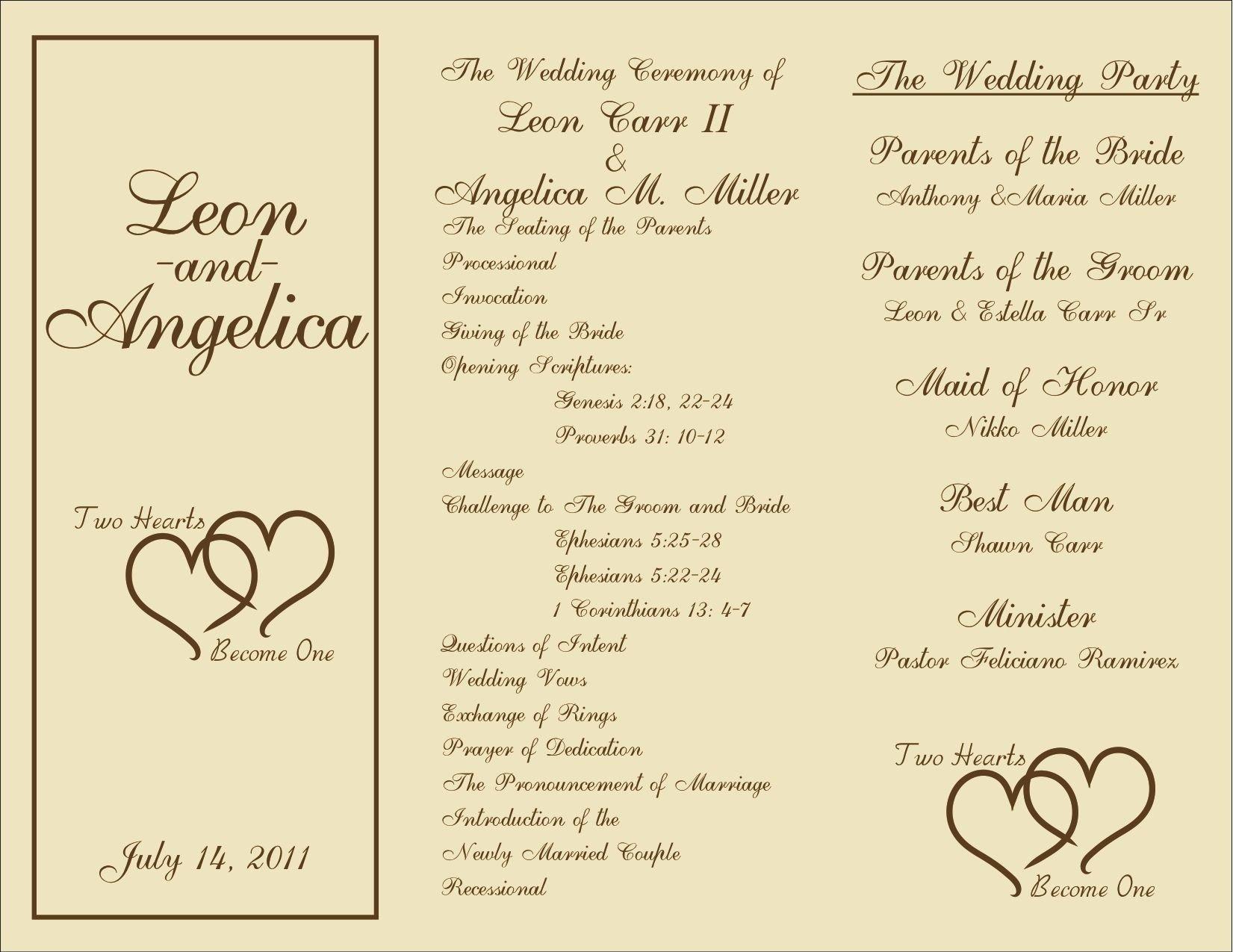 Sample Wedding Program Template Printable Wedding Programs On Pinterest