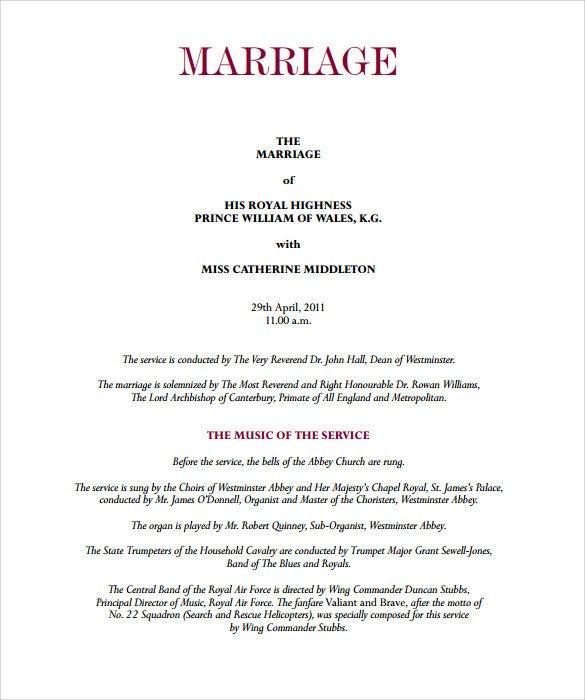 Sample Wedding Program Template Sample Wedding Program Template 11 Documents In Pdf