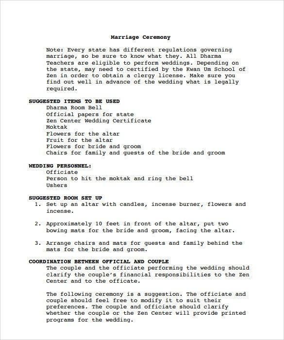 Sample Wedding Program Template Sample Wedding Program Template 9 Documents In Pdf