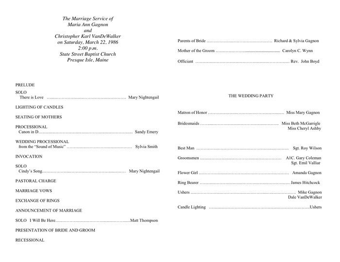 Sample Wedding Program Template Sample Wedding Program Template In Word and Pdf formats