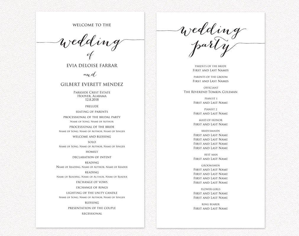 Sample Wedding Program Template Wedding Ceremony Program Templates · Wedding Templates and