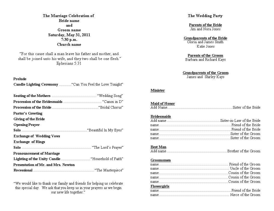 Sample Wedding Program Template Wedding Program Template Personalized Wedding Programs