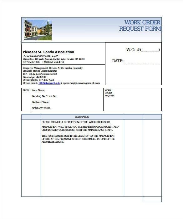 Sample Work order form 14 Work order Samples Pdf Word Excel Apple Pages