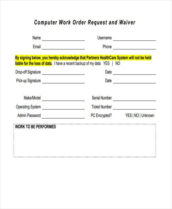 Sample Work order form 20 Sample Work order forms