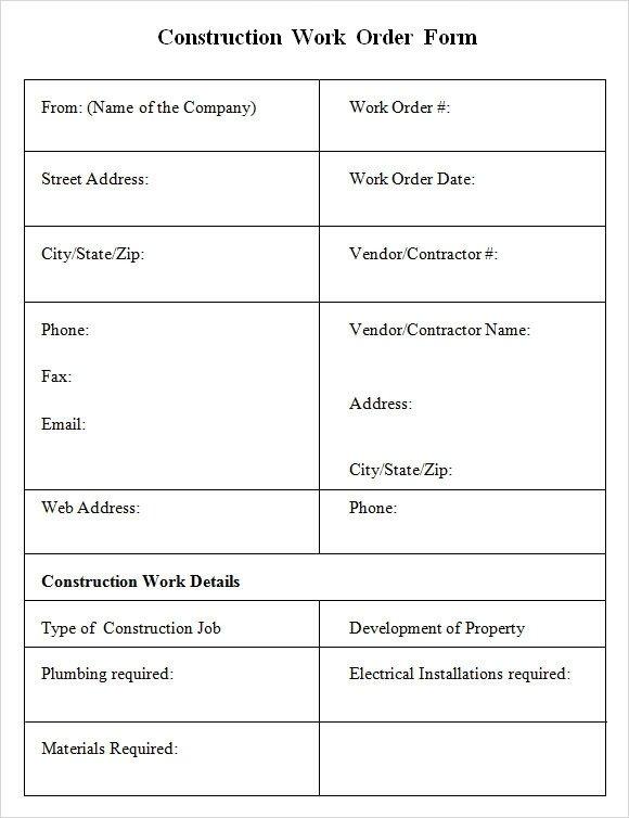 Sample Work order form 6 Sample Construction Work order forms Pdf