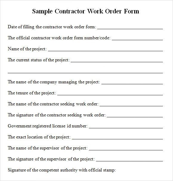 Sample Work order form Contractor Work order form Free Download for Pdf
