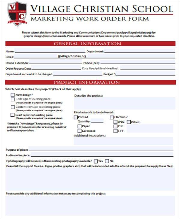 Sample Work order form Examples Of Work order form 10 Samples In Word Pdf