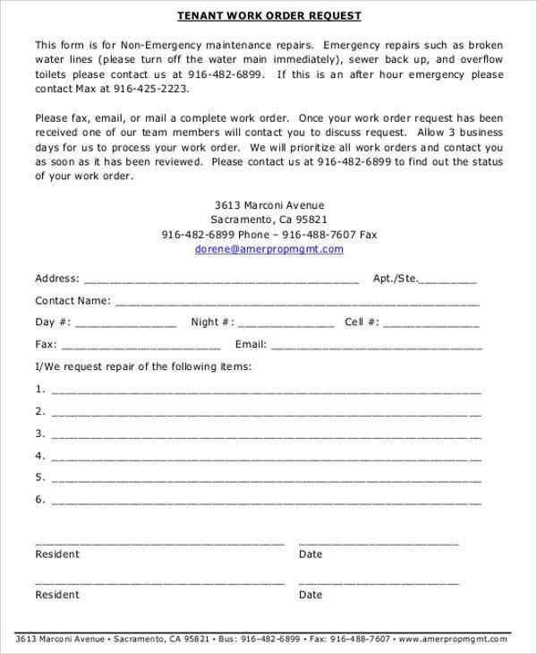 Sample Work order form Free Sample Work order form 9 Examples In Word Pdf