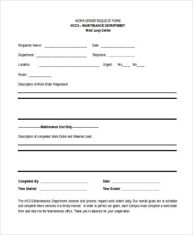 Sample Work order form Sample Work order form 10 Free Documents In Word Pdf